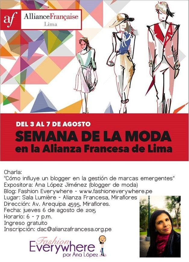 Flyer_charla_Ana López Jiménez_www.fashioneverywhere.pe_Alianza Francesa de Lima
