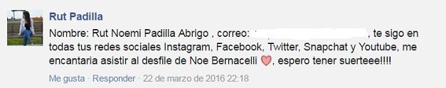 comentario ganador entradas Noe Bernacelli_Rut Padilla